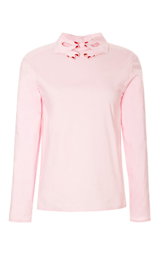 Medium vivetta pink primerose embroidered collar shirt 2