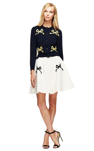Florian Bow Embellished Cropped Wool Cardigan by VIVETTA Now Available on Moda Operandi
