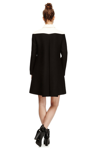 Wool & Silk Blend Color Blocked Coat by VALENTINO Now Available on Moda Operandi