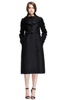 Scalloped Trim Wool Blend Belted Coat by VALENTINO Now Available on Moda Operandi