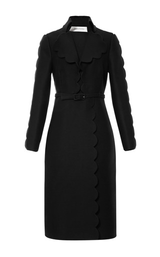 Medium valentino black scalloped trim wool blend belted coat