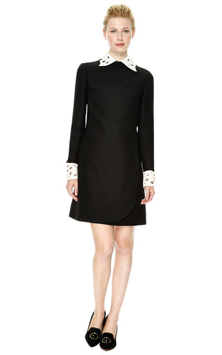 Embellished Leather Trimmed Wool Blend Dress by VALENTINO Now Available on Moda Operandi