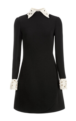 Medium valentino black embellished leather trimmed wool blend dress