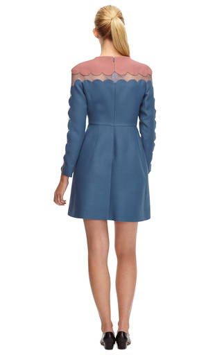 Silk And Wool Blend Scalloped Detail Dress by VALENTINO Now Available on Moda Operandi