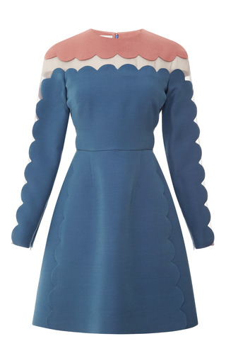 Medium valentino blue silk and wool blend scalloped detail dress