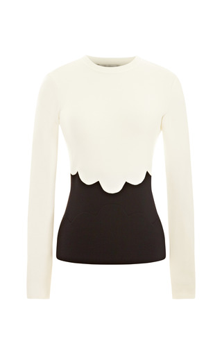 Medium valentino black wool jersey sweater with scallop detail