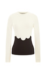 Wool Jersey Sweater With Scallop Detail by VALENTINO Now Available on Moda Operandi