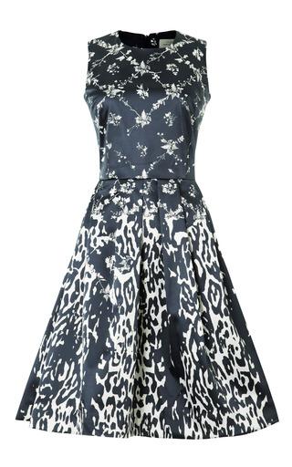 Medium preen blue wendell printed satin a line dress