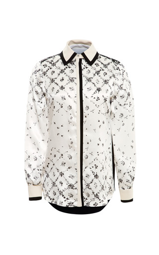 Medium preen white scott printed silk blouse with contrast trim