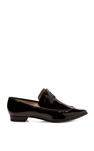 Medium derek lam 10 crosby black arty patent leather zipper detailed flats
