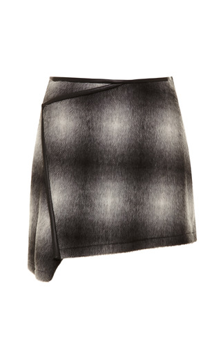 Ombre Plaid Wool Blend Asymmetric Skirt by DEREK LAM 10 CROSBY Now Available on Moda Operandi