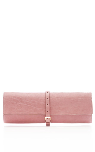 Medium rochas pink lamb leather textured roll clutch