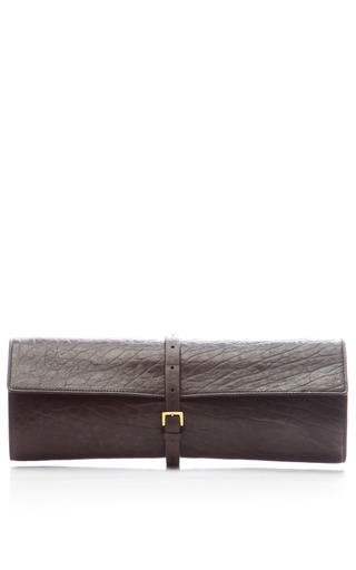 Medium rochas dark grey lamb leather textured roll clutch 2