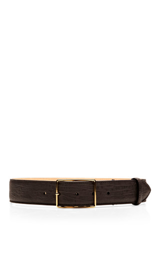Medium rochas black textured lamb leather belt 2