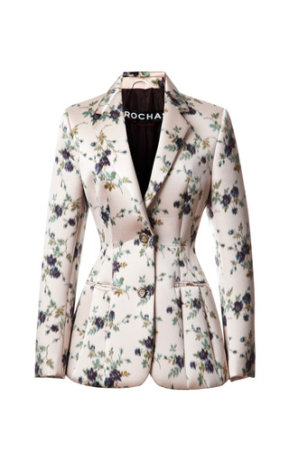 Medium rochas print duchesse satin jacquard neoprene bonded blazer