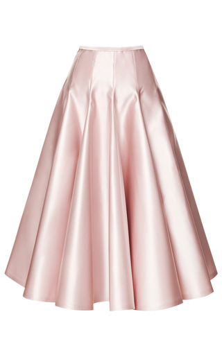 Medium rochas pink duchesse satin a line skirt