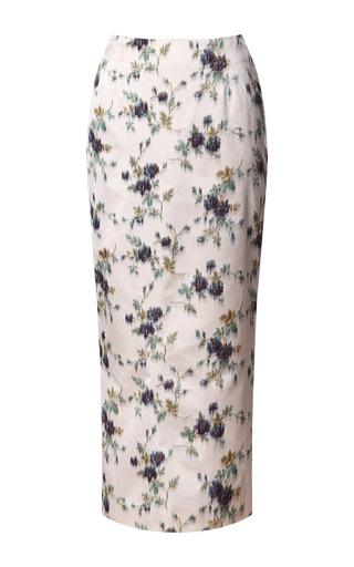 Medium rochas print silk satin jacquard midi skirt