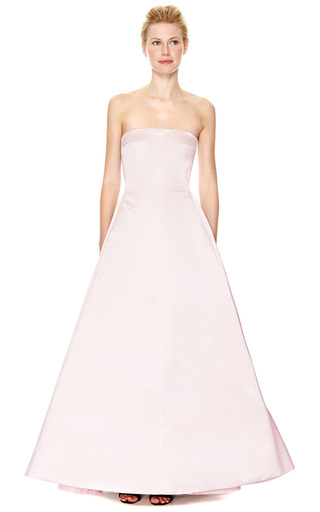 Pleated Back Duchess Satin Strapless Gown by ROCHAS Now Available on Moda Operandi