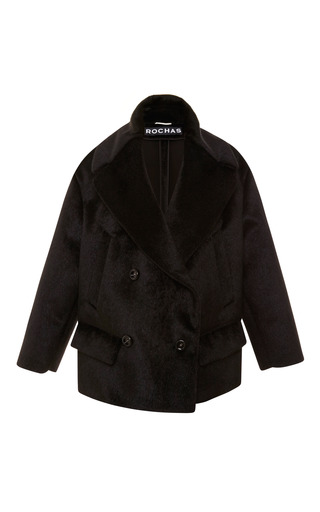 Medium rochas black double breasted oversized faux fur jacket