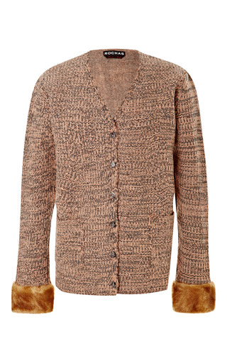 Medium rochas pink knitted v neck cardigan with faux fur cuff