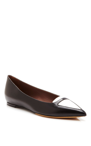 Medium tabitha simmons black alexa two tone leather flats