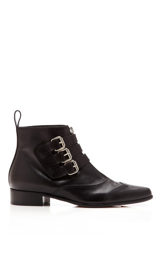 Medium tabitha simmons black early leather buckled ankle boots