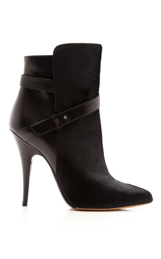 Medium tabitha simmons black hunter leather and calf hair ankle boots