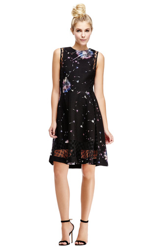 Printed Crepe Dress With Lace Insets by THAKOON Now Available on Moda Operandi