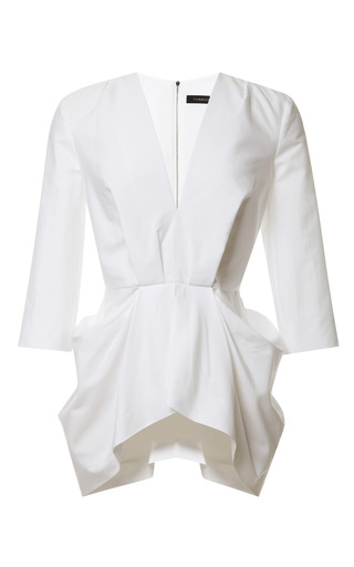 Medium thakoon white v neck gathered waist top