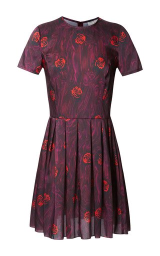 Medium opening ceremony red lizzy floral pleated dress