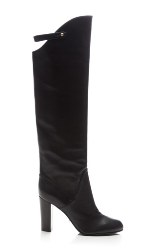 Medium sergio rossi black plonge leather knee boot