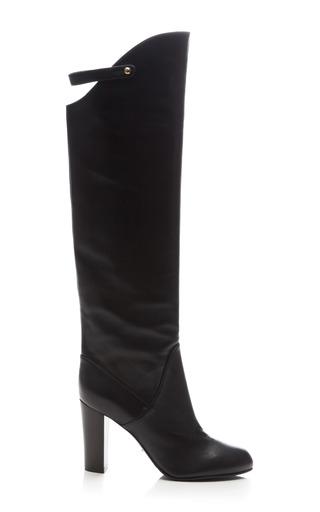 Medium sergio rossi black plonge leather knee boot