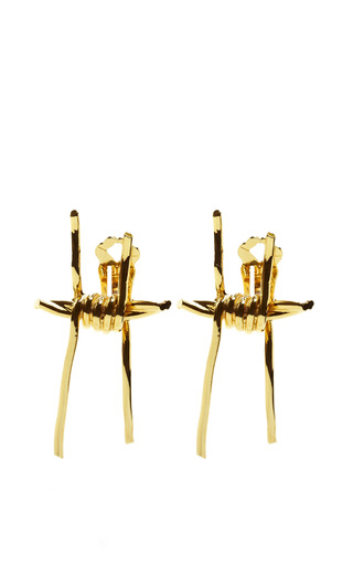 Medium rodarte gold barbed wire metal earrings