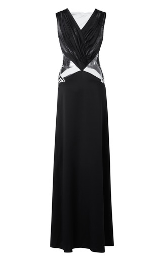 Medium rodarte black embellished silk charmeuse and tulle gown