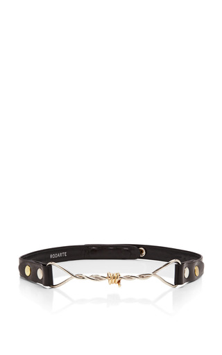 Medium rodarte black leather belt with barbed wire buckle