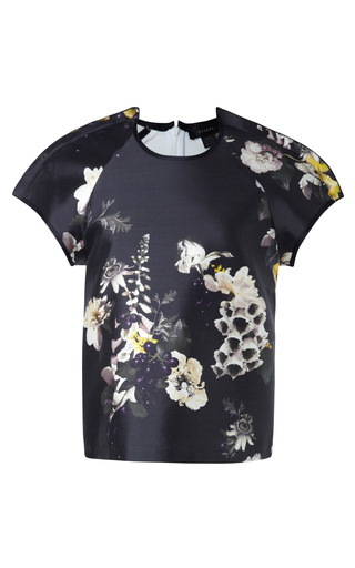 Medium ellery black aberdeen floral print cotton silk twill top