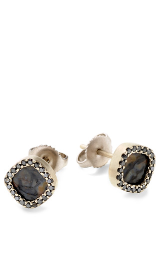 Medium monique pean multi fossilized dinosaur bone stud earrings with black diamond pave