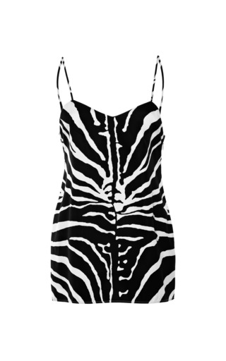 Medium carven black silk blend zebra printed camisole top