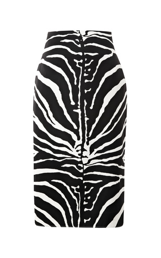 Medium carven black zebra print satin pencil skirt