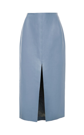 Medium carven blue leather pencil midi skirt
