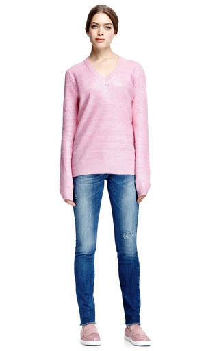 Coated Mohair Blend V Neck Sweater by CARVEN Now Available on Moda Operandi