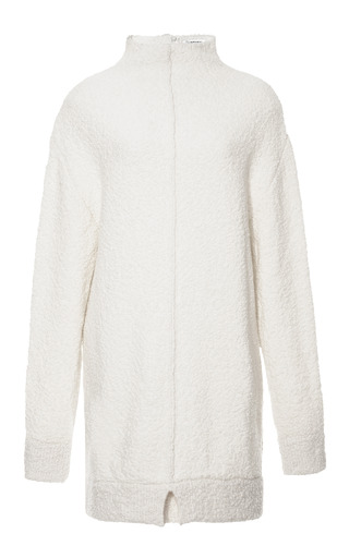 Medium carven white mock neck wool blend tunic sweater