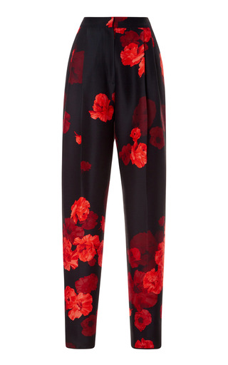 Medium giambattista valli print pleated floral print wool blend pants