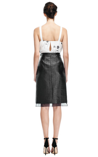 Coated Wool Pencil Skirt With Organza Hem by GIAMBATTISTA VALLI Now Available on Moda Operandi