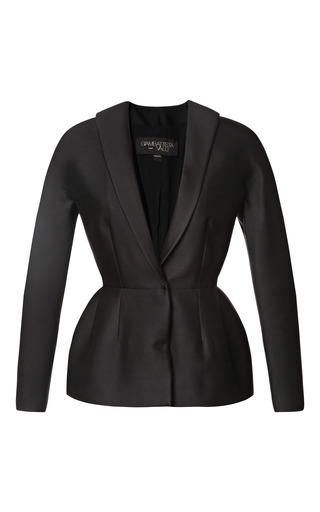 Medium giambattista valli black fitted peplum jacket