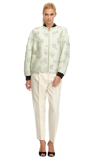 Crystal Embellished Silk Bomber Jacket by GIAMBATTISTA VALLI Now Available on Moda Operandi