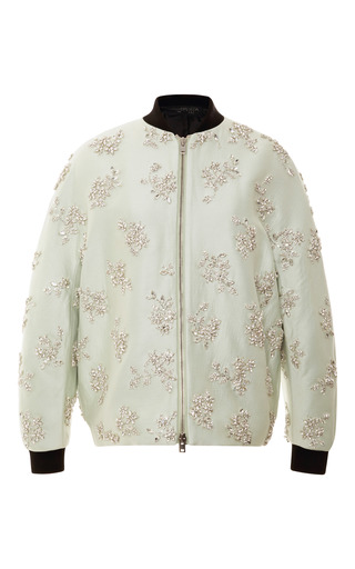 Medium giambattista valli green crystal embellished silk bomber jacket