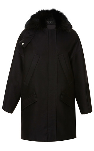 Medium giambattista valli black fox collared silk blend oversized parka