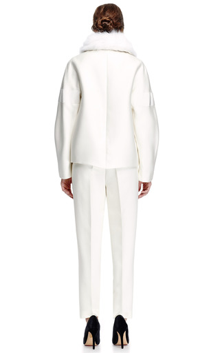 Fox Collared Silk Blend Jacket by GIAMBATTISTA VALLI Now Available on Moda Operandi