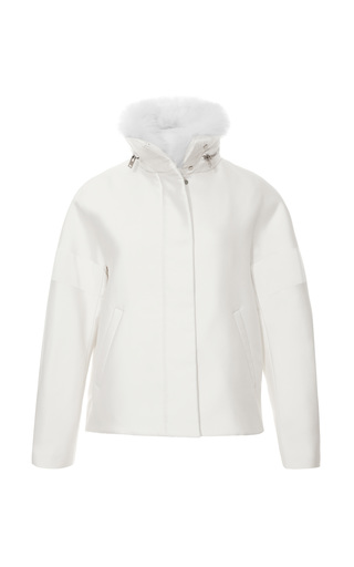 Medium giambattista valli white fox collared silk blend jacket